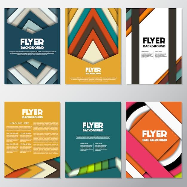 Multicolor flyers ontwerp Gratis Vector