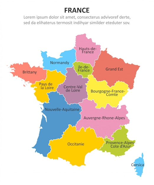 Multicolored kaart van frankrijk met gebieden. Premium Vector