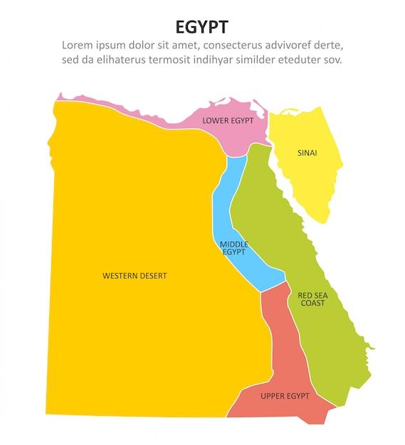 Multicoloured kaart van egypte met gebieden. Premium Vector