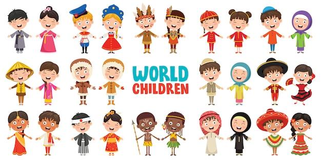 Multiculturele karakters van de wereld Premium Vector