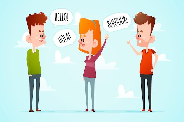 Multiculturele mensen communiceren illustratie pack Gratis Vector