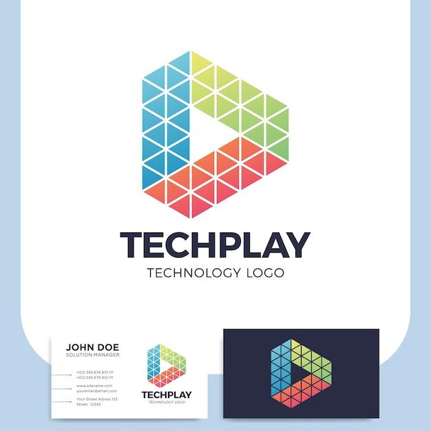 Multikleurige driehoek vorm media play-knop logo in veelhoekige stijl Premium Vector