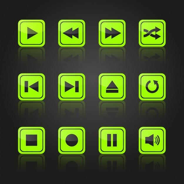 Multimedia groene knoppen ontwerp Gratis Vector