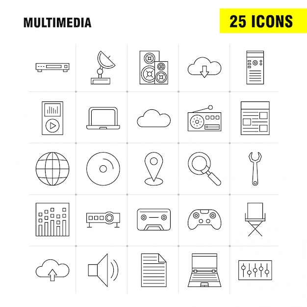 Multimedia lijn icon set Gratis Vector