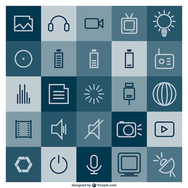 Multimedia vrij vlakke template Gratis Vector