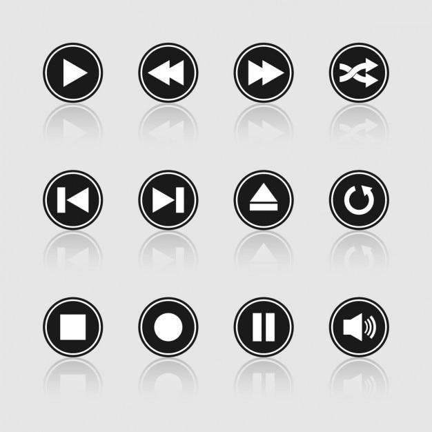 Multimedia zwarte en witte knoppen Gratis Vector