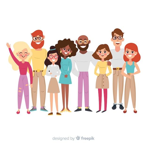 Multiraciale groep geïllustreerde mensen Gratis Vector
