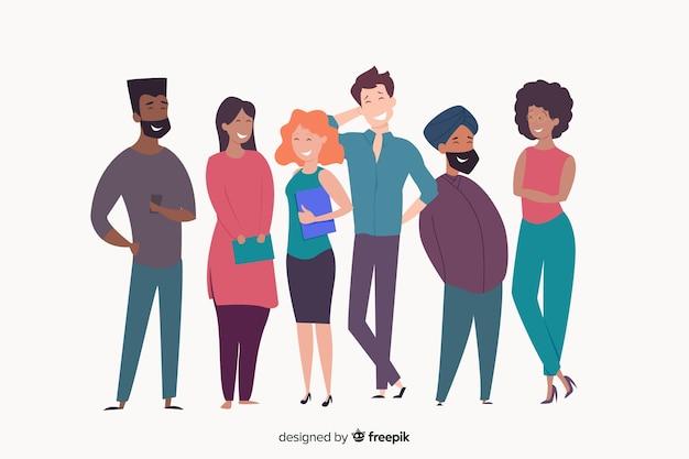 Multiraciale groep gelukkige mensen glimlachen Gratis Vector