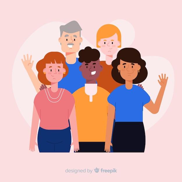 Multiraciale groep mensen achtergrond Gratis Vector