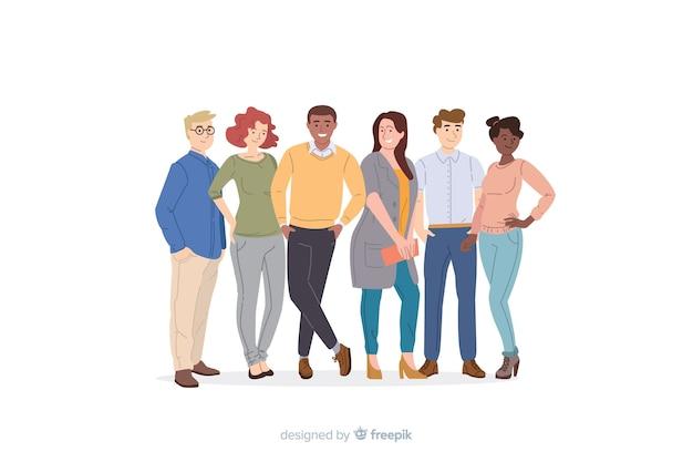 Multiraciale groep mensen plat ontwerp Gratis Vector