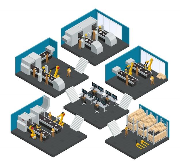 Multistoryeksamenstelling van de elektronicafabriek met personeel dat in hoogst technologische robotachtige apparatuur werkt Gratis Vector