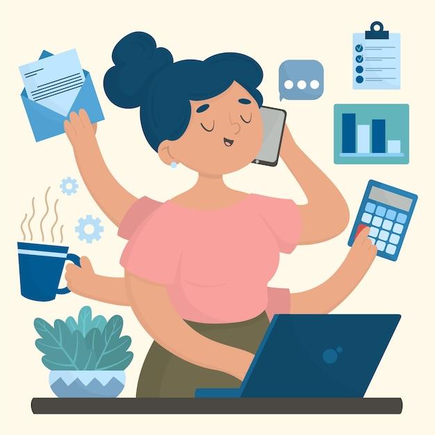 Multitasking concept hand getrokken illustratie Gratis Vector
