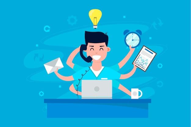 Multitasking concept illustratie Gratis Vector