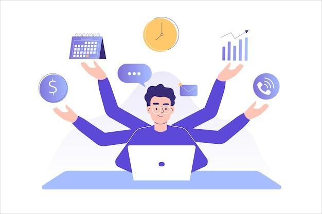 Multitasking en time management concept freelancer man Premium Vector