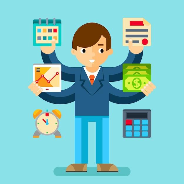Multitasking manager kantoor. bedrijfsplanning en organisatie, rekenmachine en geld Gratis Vector