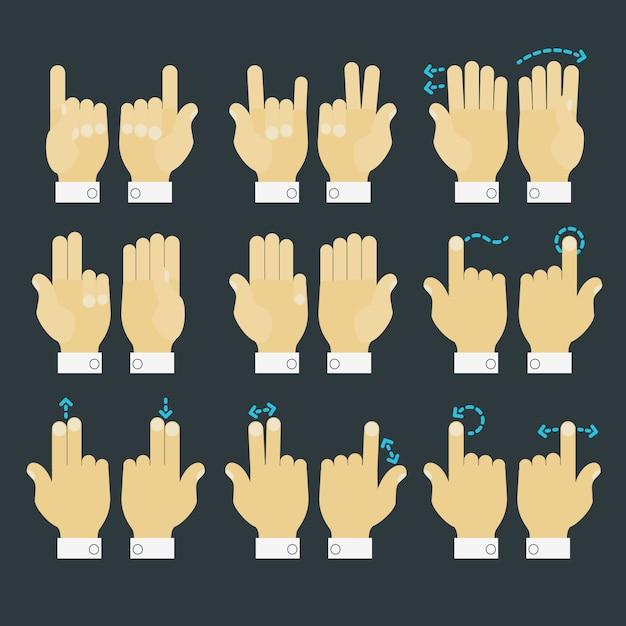 Multitouch gebaar handen pictogrammen instellen Premium Vector
