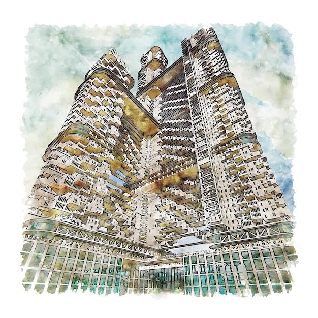 Mumbai maharashtra aquarel schets hand getrokken illustratie Premium Vector