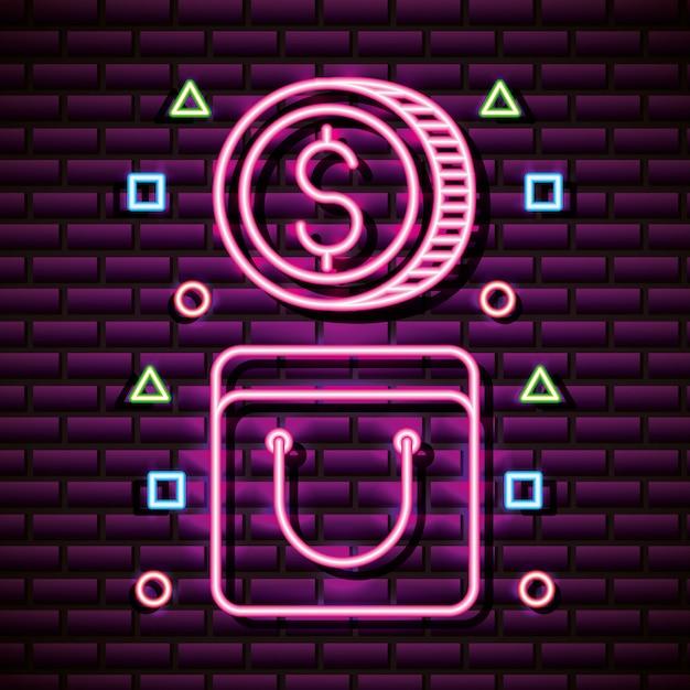 Munt en tas in neon-stijl, gerelateerde videogames Gratis Vector