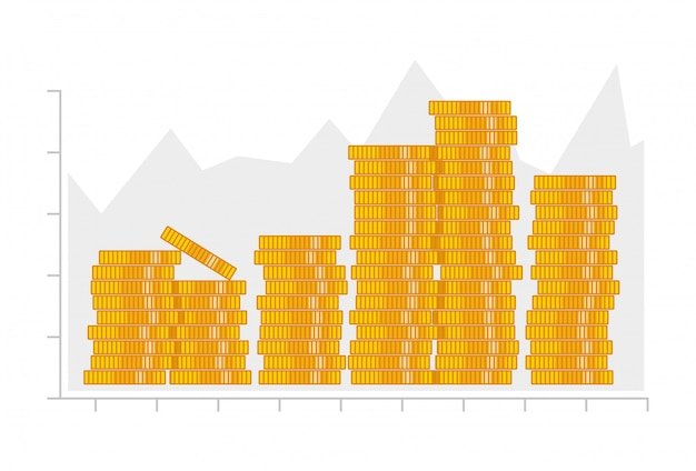 Munten stapel. infographics elementen. Premium Vector
