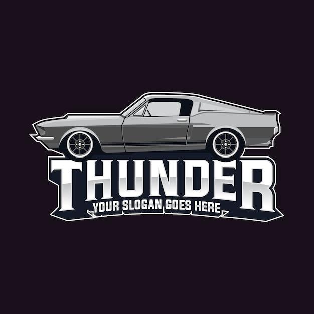 Muscle car logo vector template Premium Vector