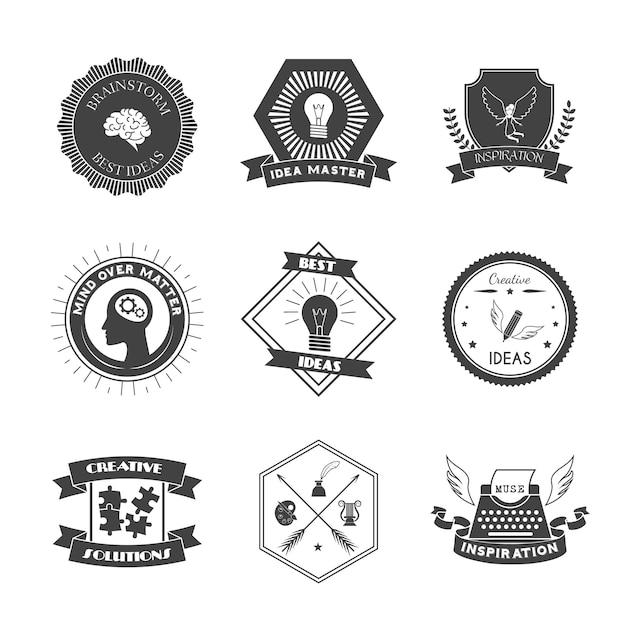 Muse brainstorm creatieve oplossing en inspiratielabelset Gratis Vector