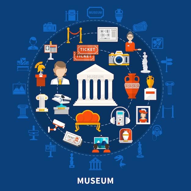 Museum blauwe achtergrond met gekleurde pictogrammen in rond ontwerp inclusief paleontologie, archeologische historische artefacten en kunstvoorwerpen plat Gratis Vector