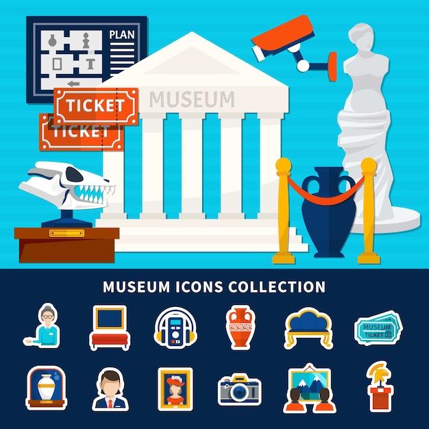Museum iconen collectie van antieke expositie conciërge ticket kunstwerken museumgebouw met titel en kolommen Gratis Vector