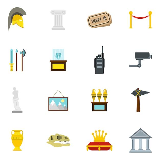 Museum pictogrammen instellen in vlakke stijl Premium Vector