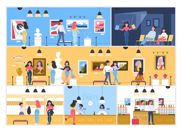Museumstadsbouwinterieur met kamers en bezoekers. mensen in het museum. Premium Vector