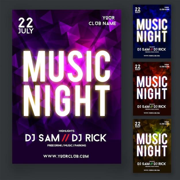 Music night party flyer of poster design met vier verschillende kleuren paars, blauw, rood en geel. Premium Vector