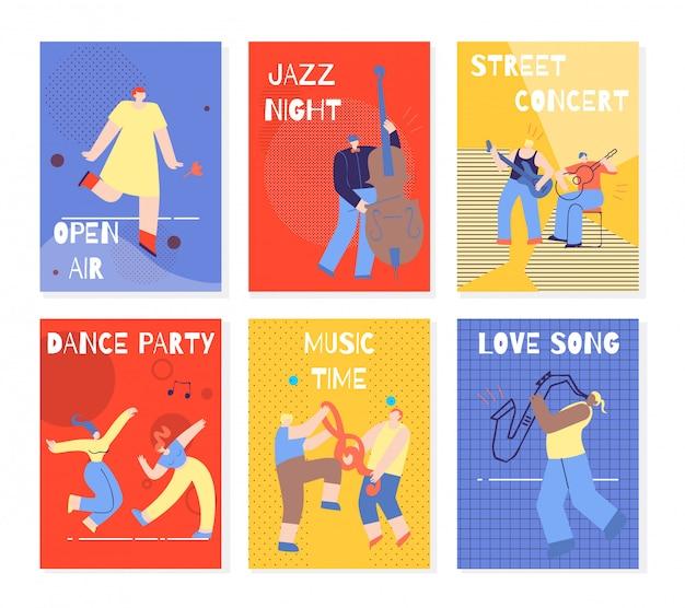 Music party performing people kleurrijke kaarten set Premium Vector