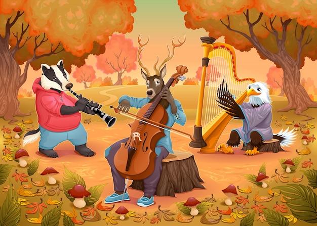 Musicus dieren in het bos cartoon en vector illustratie Gratis Vector