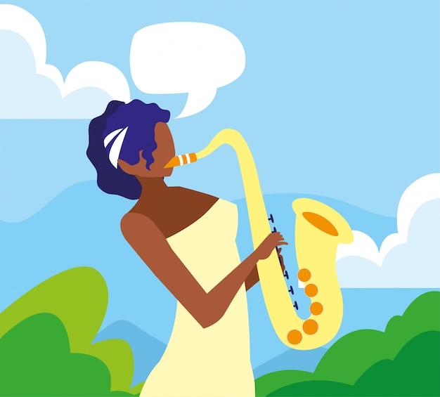 Musicus vrouw saxofoon spelen muziek Premium Vector