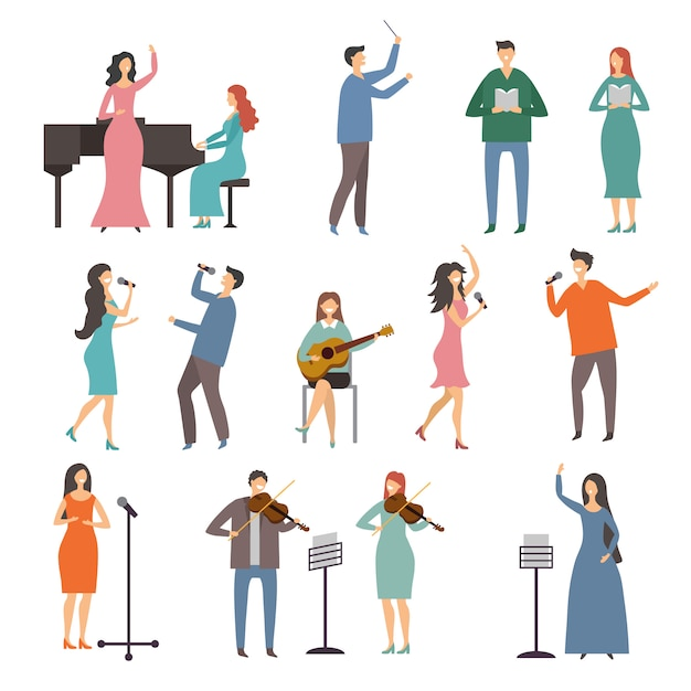 Musicuspersonen in verschillende muziekduetten. vector tekens van zangers Premium Vector
