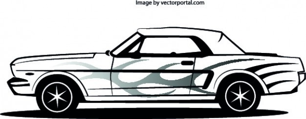 Mustang auto laterale Gratis Vector