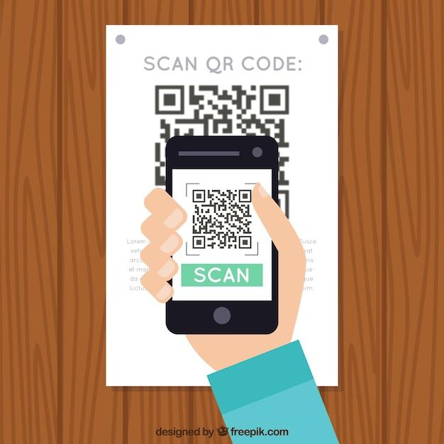Muur achtergrond scannen qr-code Gratis Vector