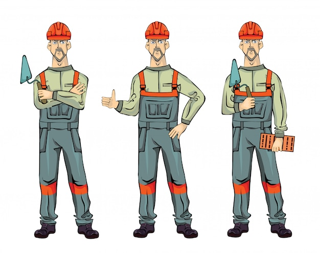 Muurbouwer, op witte achtergrond. standing man in uniform met spatel en baksteen. illustratie set. Premium Vector