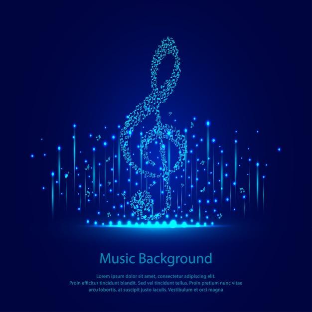Muziek achtergrond met blauwe sparkles Premium Vector