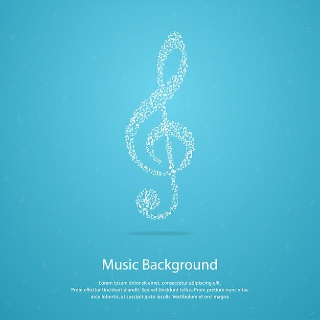 Muziek achtergrond met g-sleutel Premium Vector