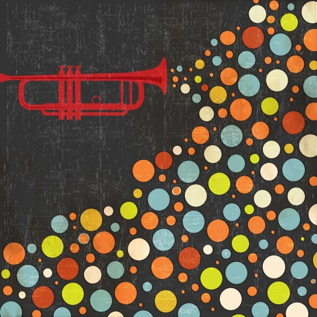 Muziek achtergrond met trompet en ballen Gratis Vector