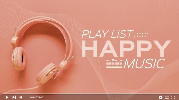 Muziek afspeellijst youtube thumbnail Gratis Vector