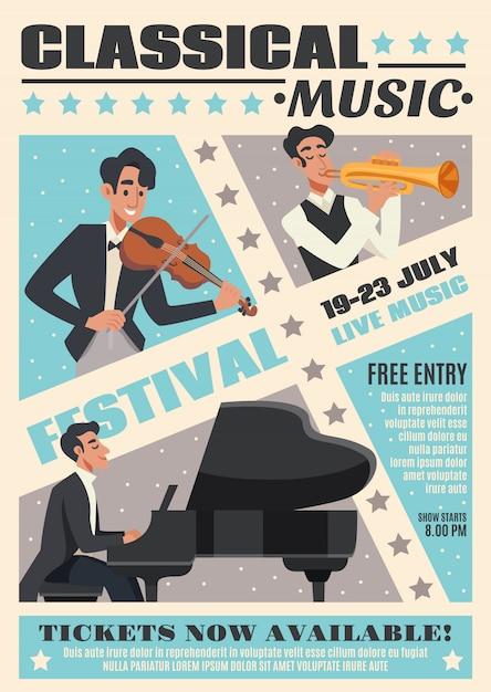 Muziek cartoon poster Gratis Vector