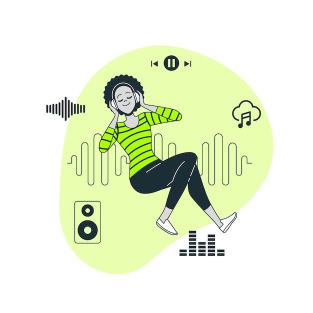 Muziek concept illustratie Gratis Vector