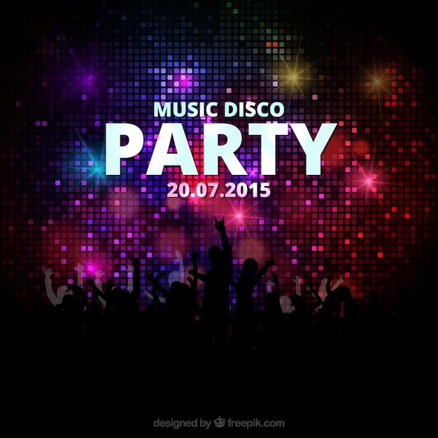 Muziek disco party poster Gratis Vector