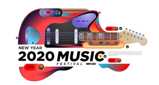 Muziek- en gitaarfestival illustratieontwerp voor 2020 nieuwjaarsfeestevenement. Premium Vector