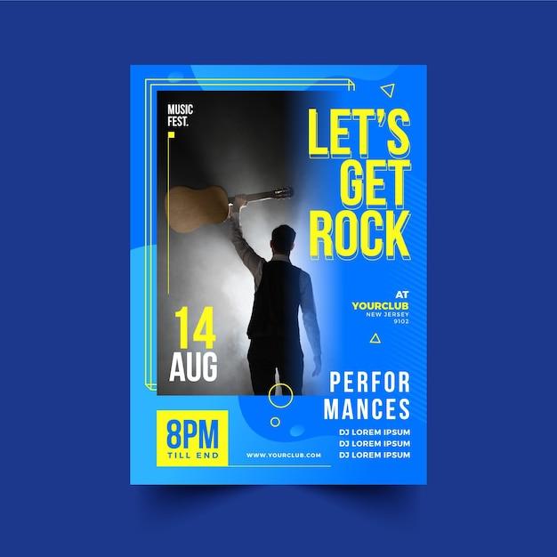 Muziek evenement poster 2021 thema Gratis Vector