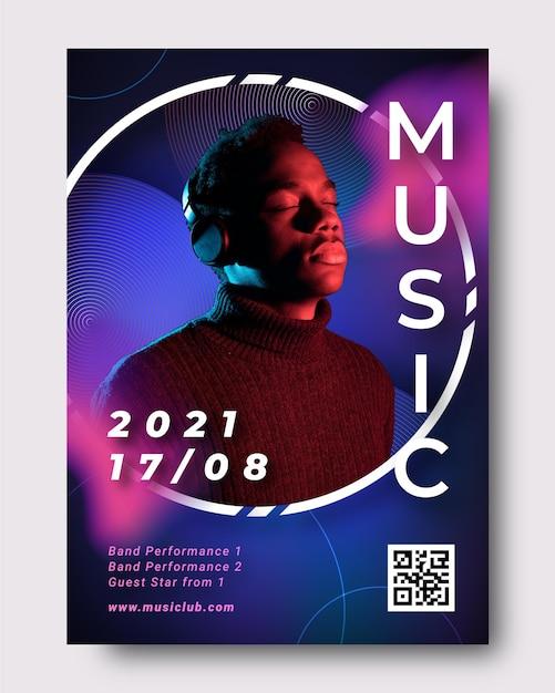 Muziek evenement poster met afbeelding Gratis Vector