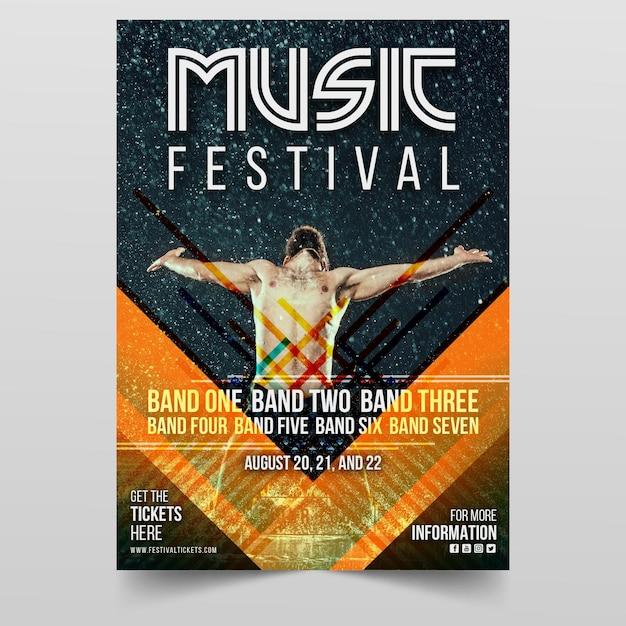Muziek evenement poster met foto Gratis Vector