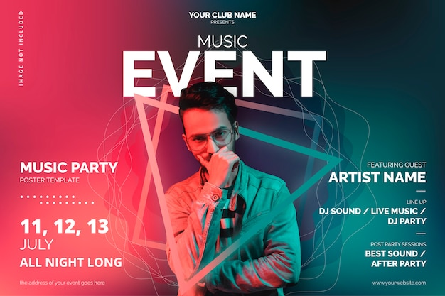 Muziek evenement poster sjabloon met abstracte vormen Gratis Vector
