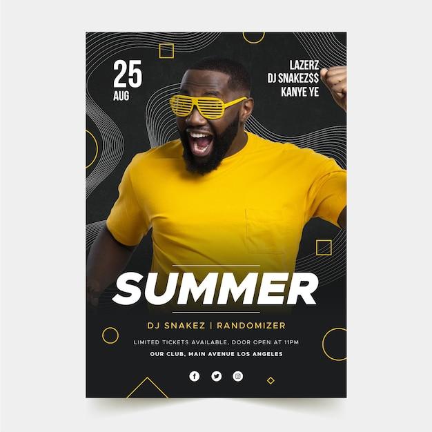 Muziek evenement poster sjabloon met foto Gratis Vector